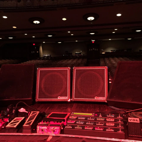 Steve Vai using two VX112's as guitar stage monitors