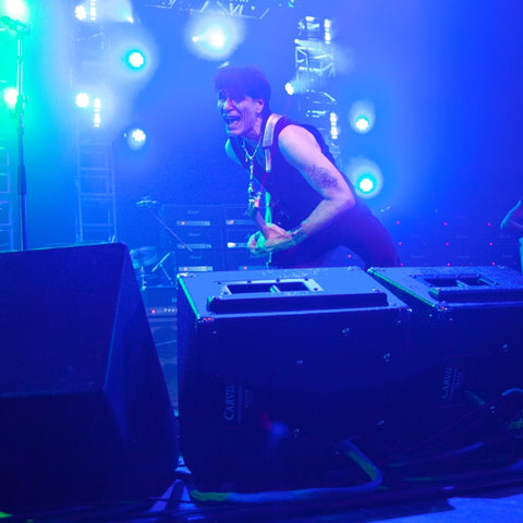 Steve Vai using two VX112's as stage monitors