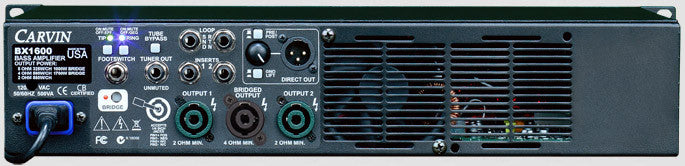 Carvin BX1600 Bass Amp Rear Panel