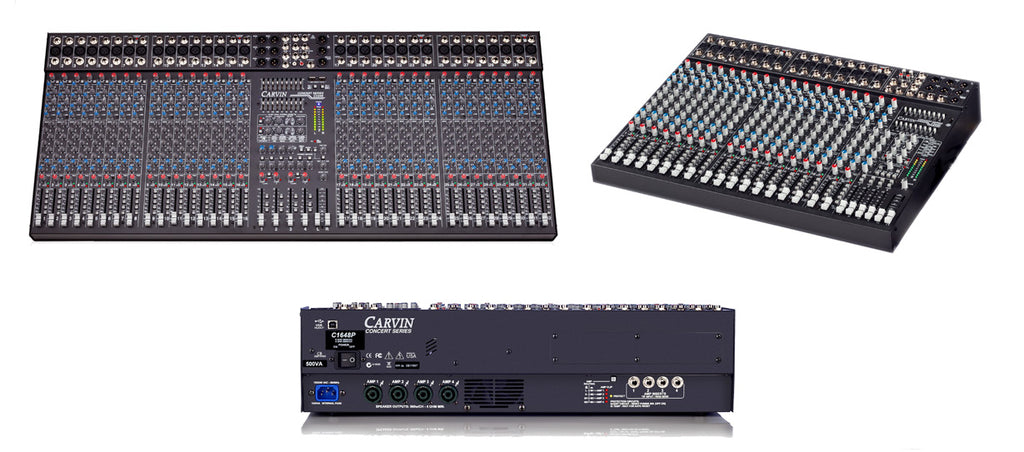 Concert series 12 to 32 channel mixers and a 2000W powered 16 channel