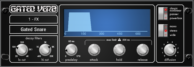 gated verb effect for allen&heath qu series mixing consoles