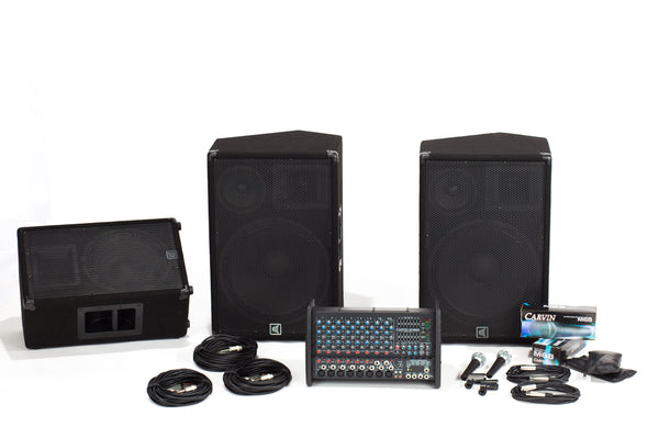Carvin Audio RX1200L-153-112 Powered Sound System with Monitor Package
