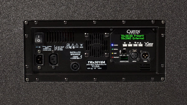Carvin TRX3018A active 2500w 18-inch subwoofer rear view power amp section