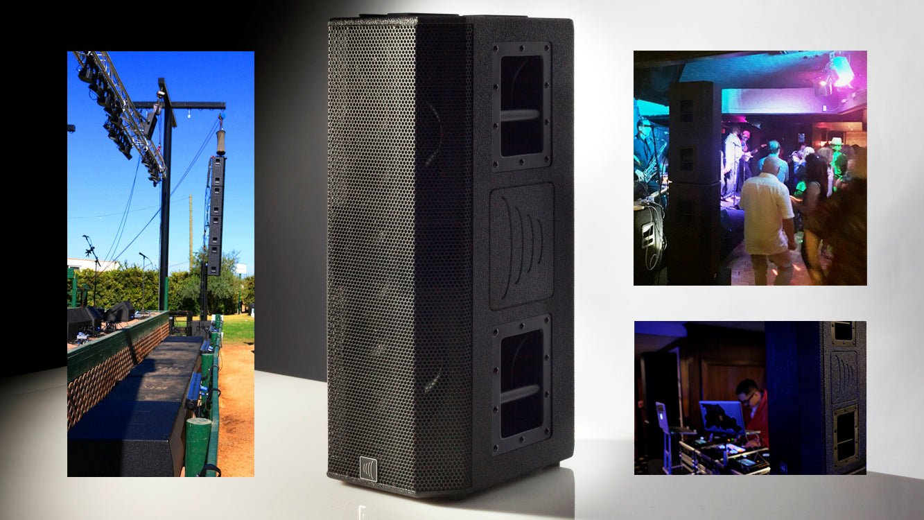 TRx3810A - VELA a new dimension in regional line arrays and speaker on a stand.
