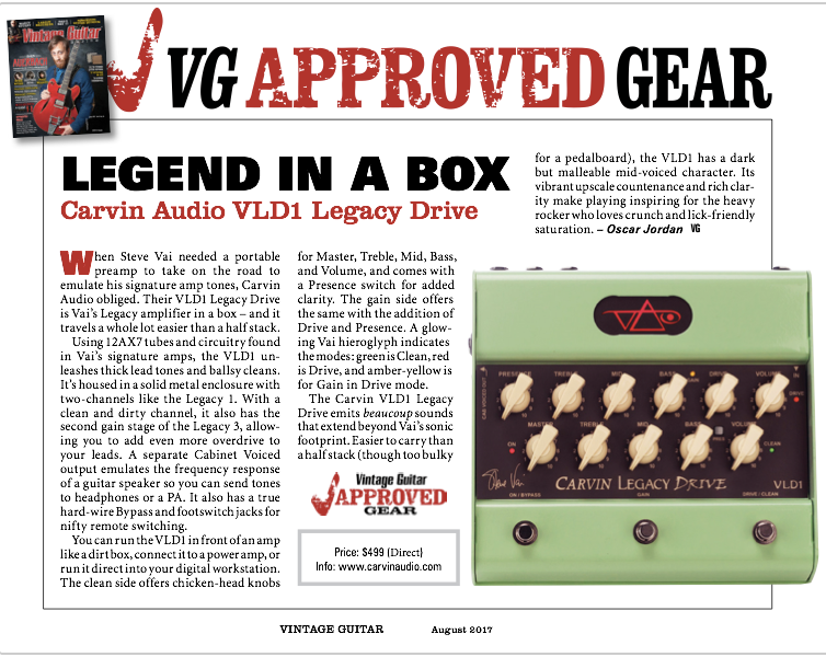 Vintage Guitar Reviews the VLD1 Legacy Drive Pedal