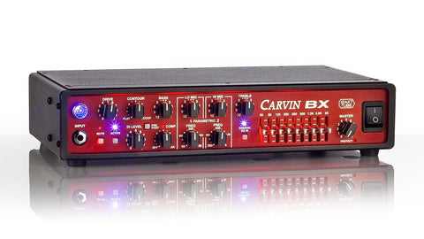 BX700 700Watt compact bass amplifier with red panel and LED back lighting