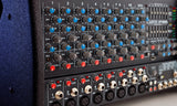 XP1000L Lightweight Stereo Powered 1200W 8 Channel Mixer Close Up Dials Inputs