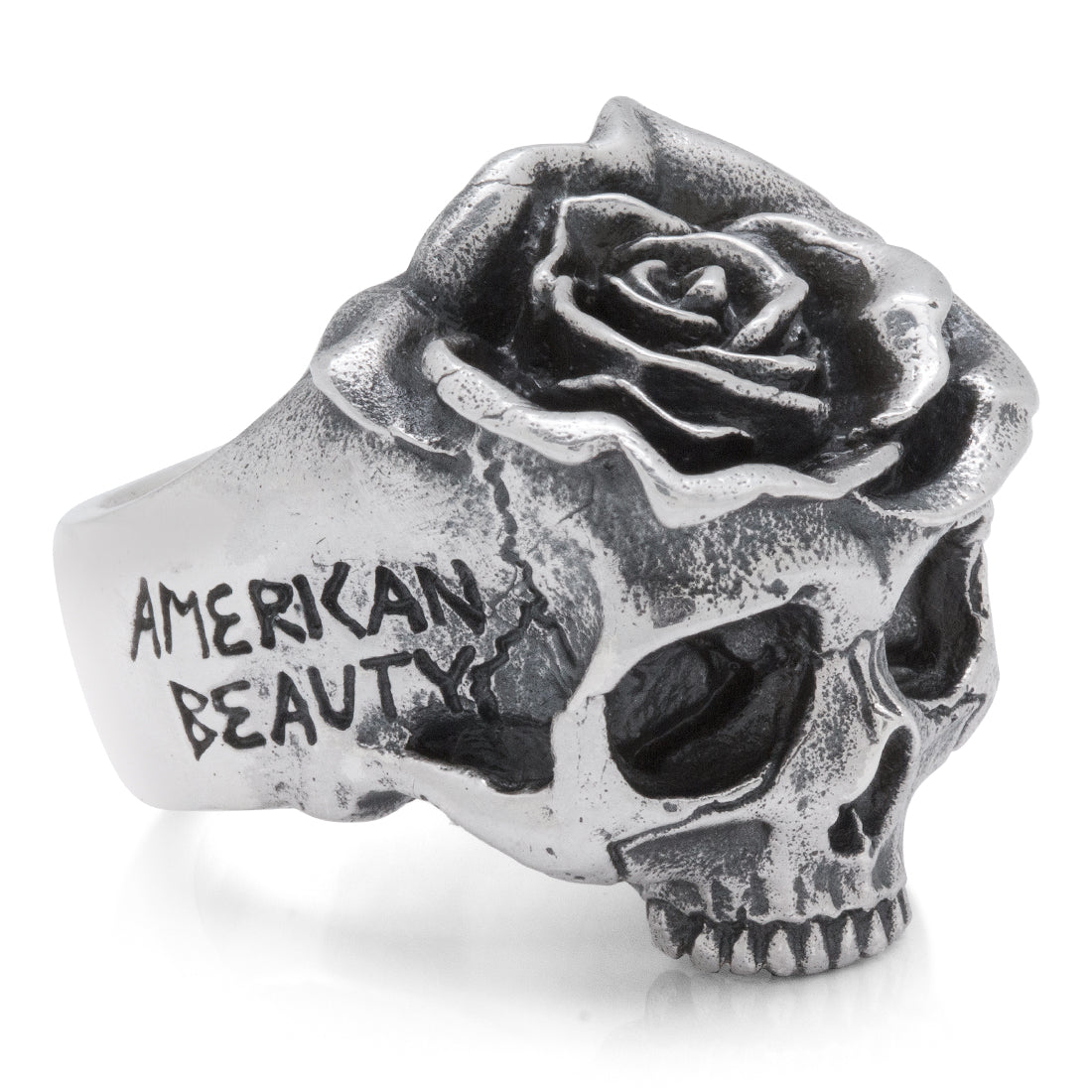 American Beauty Rose Skull Sterling Silver Ring
