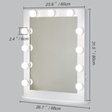 "Toyswill Large Vanity Mirror with Lights 23.6"" x 31.5"" LED Lighted Vanity Mirrors Hollywood Makeup Mirror with Dimmer White Desk or Wall Mounted, Dimmable Bulbs Included"