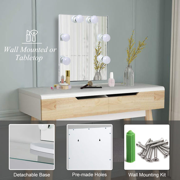 Toyswill Hollywood Lighted Vanity Makeup Mirror, Light-up Frameless Dressing Table Cosmetic Mirror with 6 Dimmable Bulbs