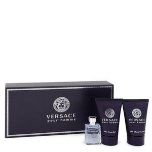 Versace Pour Homme by Versace Gift Set -- .17 oz Mini EDT + .8 oz After Shave Balm + .8 oz Hair + Body Shampoo for Men - Oliavery