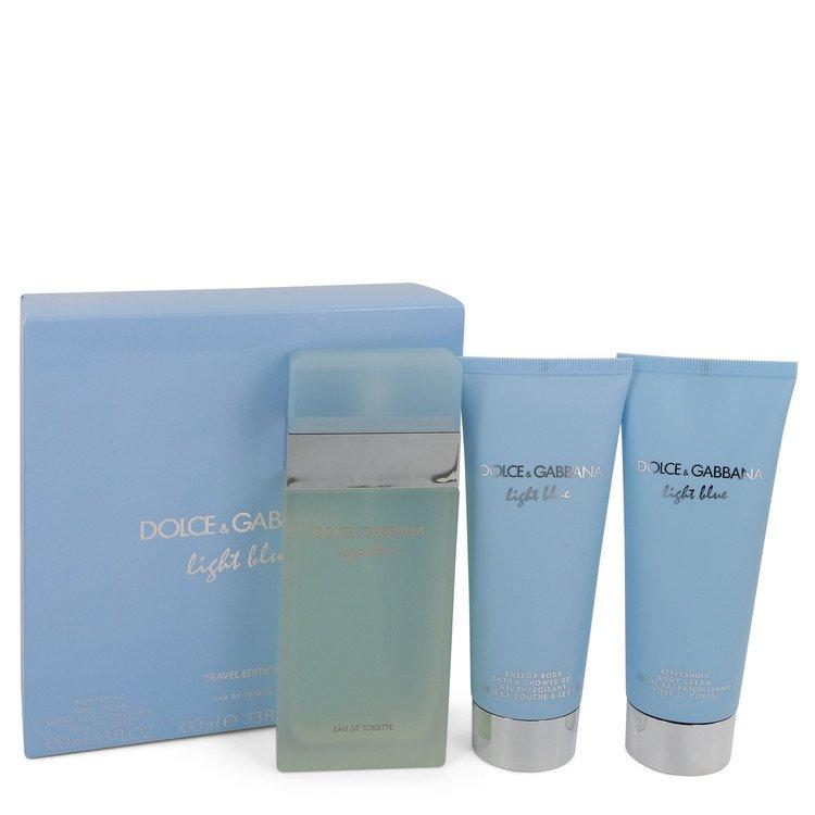 Light Blue by Dolce & Gabbana Gift Set -- 3.3 oz Eau De Toilette Spray + 3.3 oz Body Cream + 3.3 oz Shower Gel for Women - Oliavery
