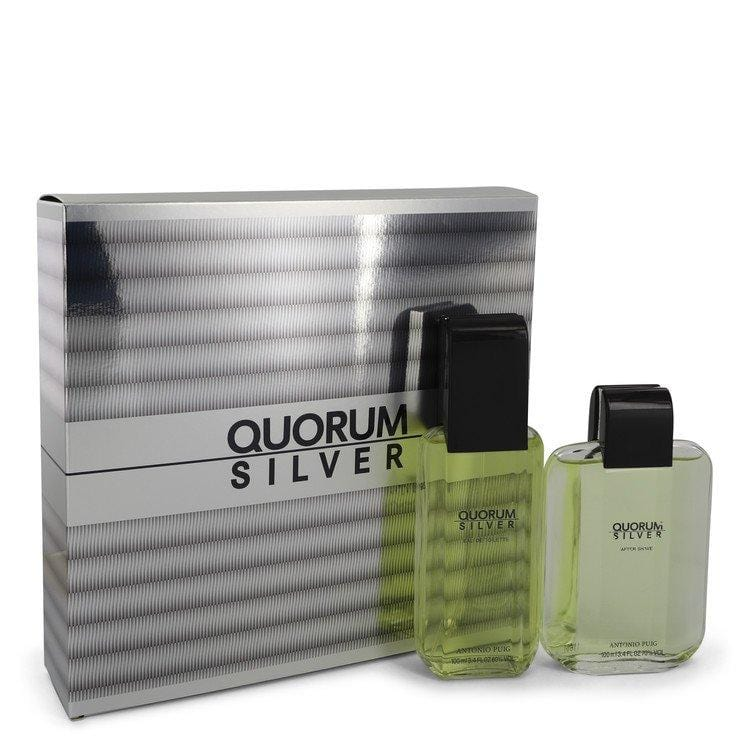 Quorum Silver by Puig Gift Set -- 3.4 oz Eau De Toilette Spray + 3.4 oz After Shave for Men - Oliavery