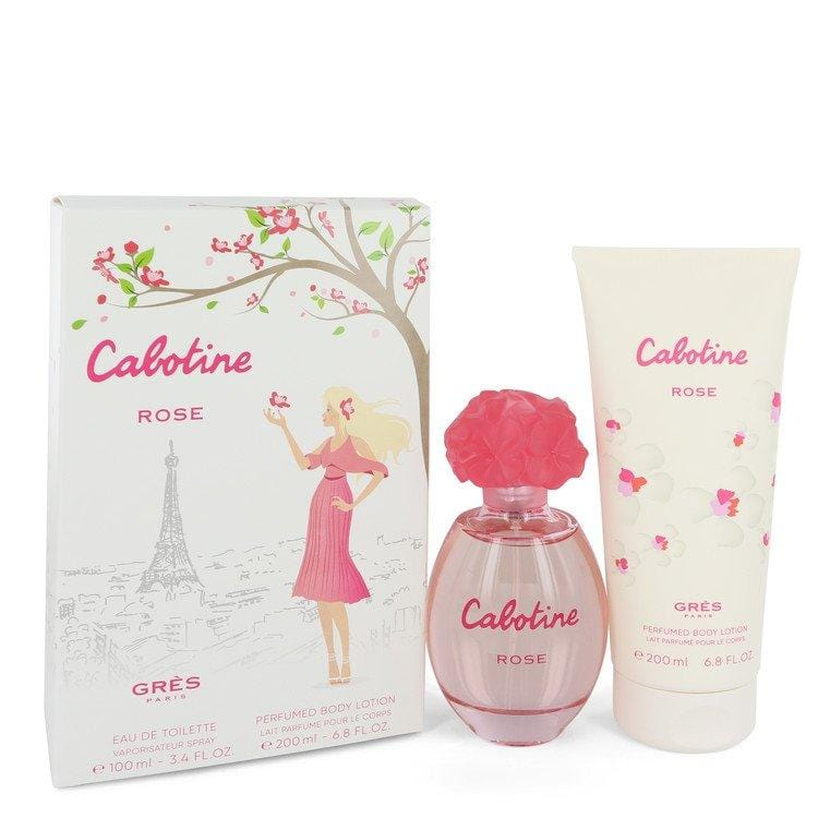 Cabotine Rose by Parfums Gres Gift Set -- 3.4 oz Eau De Toilette Spray + 6.7 oz Body Lotion for Women - Oliavery
