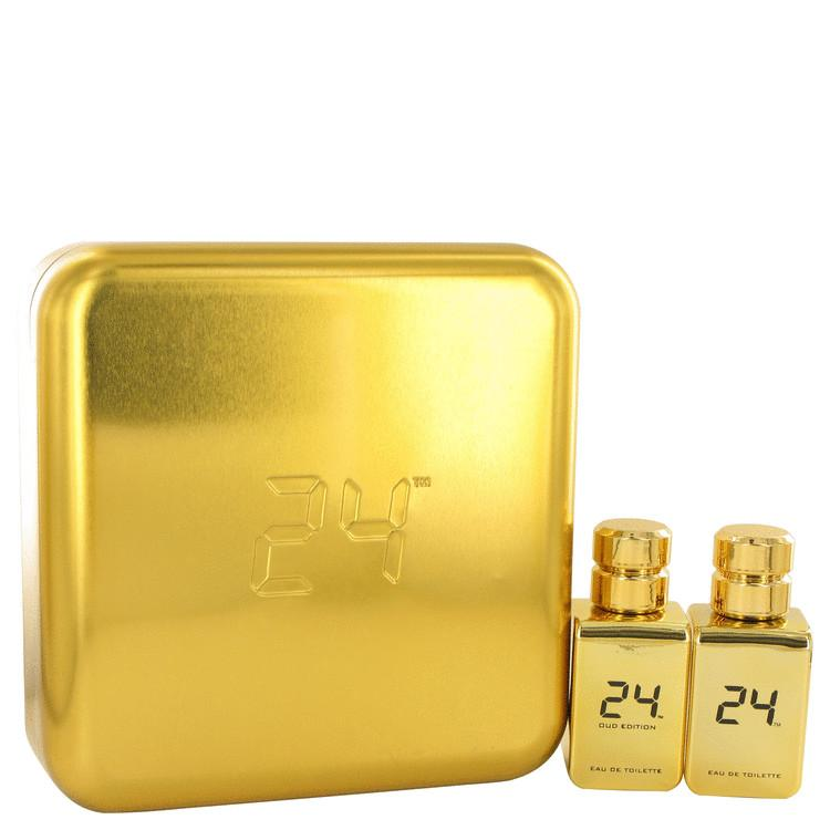 24 Gold Oud Edition by ScentStory Gift Set -- 24 Gold 1.7 oz Eau De Toilette Spray + 24 Gold Oud 1.7 oz Eau De Toilette Spray for Men - Oliavery