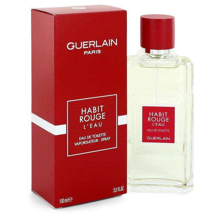 Habit Rouge L'eau by Guerlain Eau De Toilette Spray for Men - Oliavery