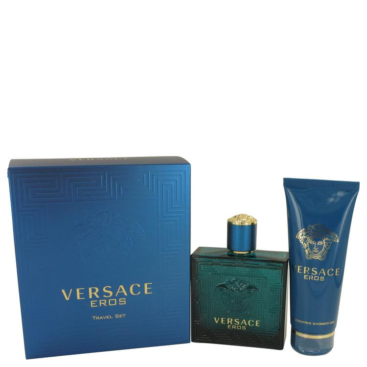 Versace Eros by Versace Gift Set -- 3.4 oz Eau De Toilette Spray + 3.4 oz Shower Gel for Men - Oliavery