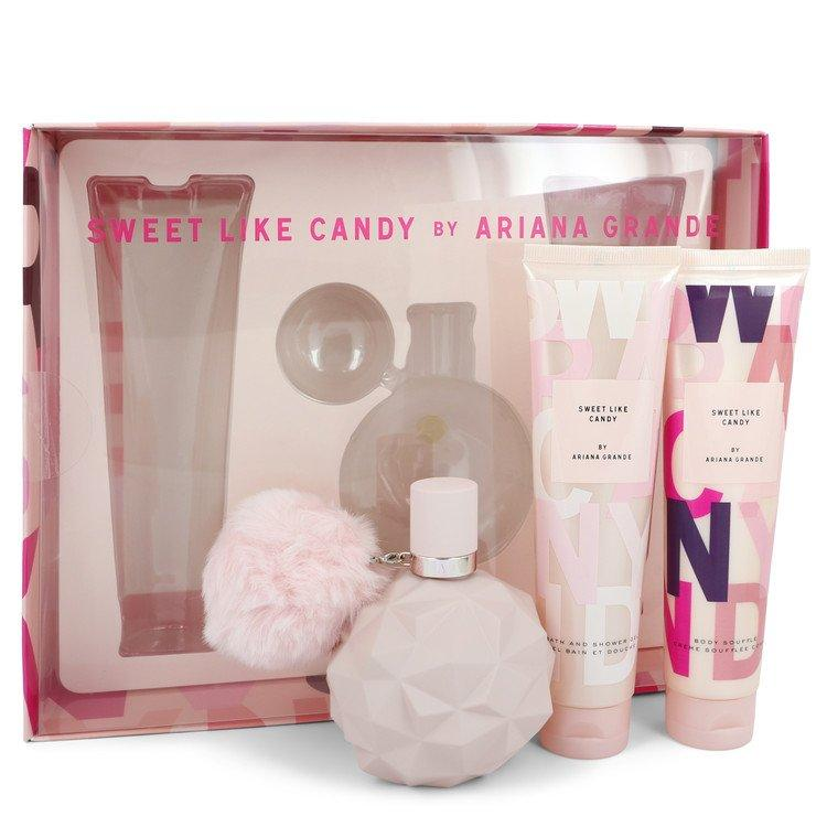 Sweet Like Candy by Ariana Grande Gift Set -- 3.4 oz Eau De Parfum Spray + 3.4 oz Body Souffle + 3.4 oz Bath & Shower Gel for Women - Oliavery