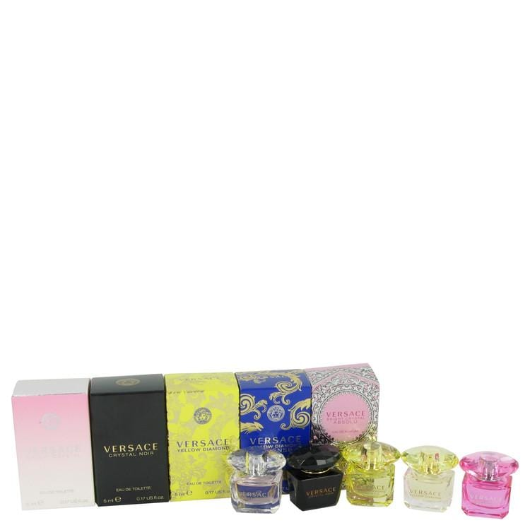 Bright Crystal by Versace Gift Set -- Miniature Collection Includes .17 oz minis of Crystal Noir, Bright Crystal, Yellow Diamond, Bright Crystal Absolu and Yellow Diamond Intense for Women - Oliavery