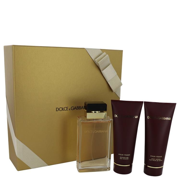 Dolce & Gabbana Pour Femme by Dolce & Gabbana Gift Set -- 3.4 oz Eau De Parfum Spray + 3.4 oz Shower Gel + 3.4 oz Body Lotion for Women - Oliavery