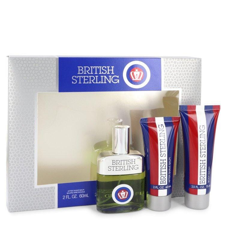 BRITISH STERLING by Dana Gift Set -- 2.5 oz Cologne Spray + 2.5 oz Body Wash + 2 oz After Shave Balm for Men - Oliavery