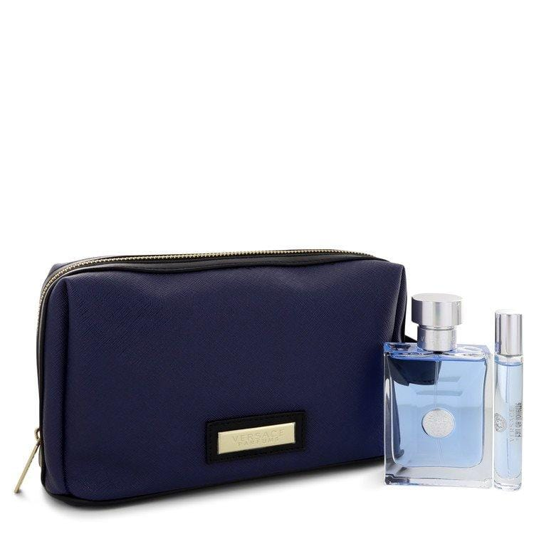 Versace Pour Homme by Versace Gift Set -- 3.4 oz Eau De Toilette Spray + 0.3 oz Mini EDT Spray in Pouch for Men - Oliavery