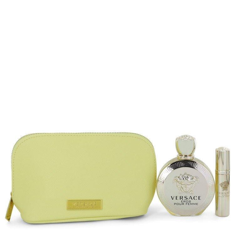 Versace Eros by Versace Gift Set -- 3.4 oz Eau De Parfum spray + 0.3 oz  Mini EDP Spray  In Versace Yellow Pouch for Women - Oliavery