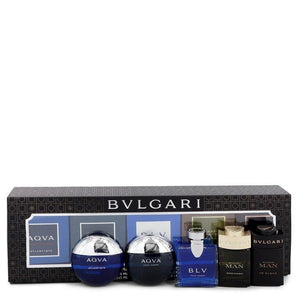 Bvlgari Man In Black by Bvlgari Gift Set -- Travel Size Gift Set Includes Bvlgari Aqua Atlantique, Aqua Pour Homme, BLV, Man Wood Essence, Man in Black all in .17 oz sizes for Men - Oliavery