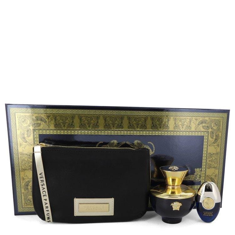 Versace Pour Femme Dylan Blue by Versace Gift Set -- 3.4 oz Eau De Parfum Spray + 0.3 oz Mini EDP Spray in Versace Black & Gold Pouch for Women - Oliavery