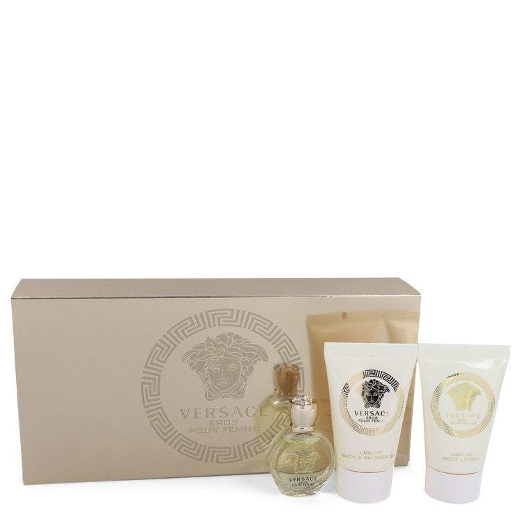 Versace Eros by Versace Gift Set -- .17 oz Mini EDP + .8 oz Shower Gel + .8 oz Body Lotion for Women - Oliavery