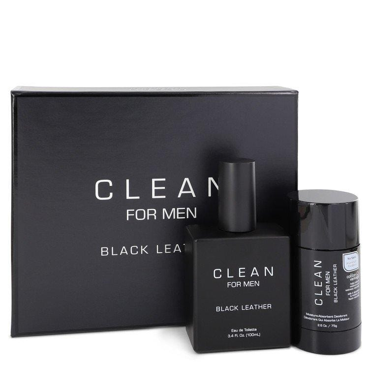 Clean Black Leather by Clean Gift Set -- 3.4 oz Eau De Toilette Spray + 2.6 oz Deodorant Stick for Men - Oliavery