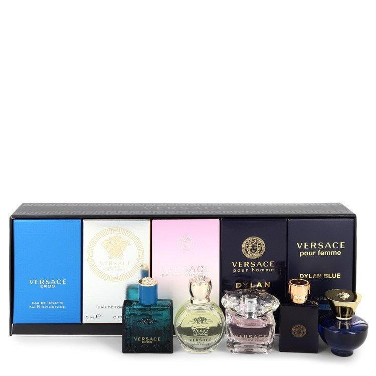 Versace Eros by Versace Gift Set -- The Best of Versace Men's and Women's Miniatures Collection Includes Versace Eros, Versace Pour Homme Dylan Blue, Versace Pour Femme Dylan Blue, Bright Crystal and Versace Eros Pour Femme for Men - Oliavery