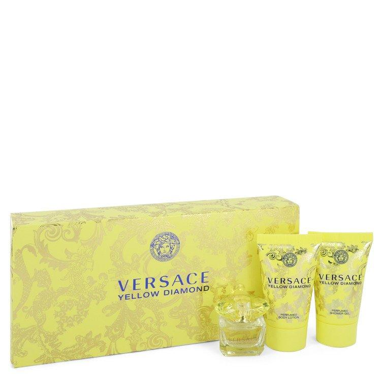 Versace Yellow Diamond by Versace Gift Set -- 0.17 oz Mini EDP + 0.8 oz Body Lotion + 0.8 oz Shower Gel for Women - Oliavery