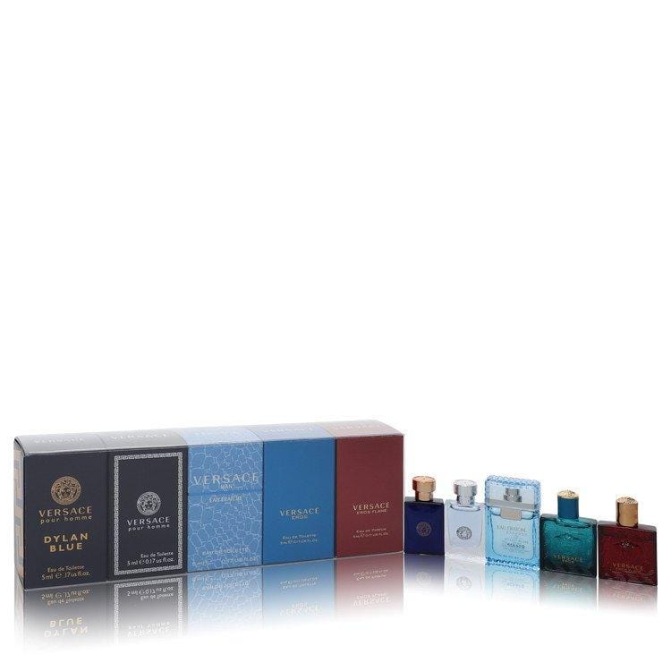 Versace Pour Homme Dylan Blue by Versace Gift Set -- 5 piece mini variety set includes Versace Pour Homme, Dylan Blue, Versace Pour Homme, Versace Man Eau Fraiche, Versace Eros and Versace Eros Flame all in .17 oz sizes. for Men