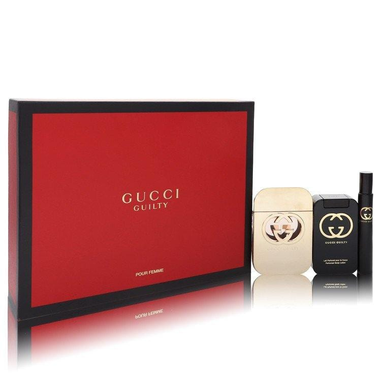 Gucci Guilty Pour Femme by Gucci Gift Set -- 2.5 oz Eau De Toilette Spray + 3.3 oz Body Lotion + 0.25  Mini EDT Spray for Women - Oliavery