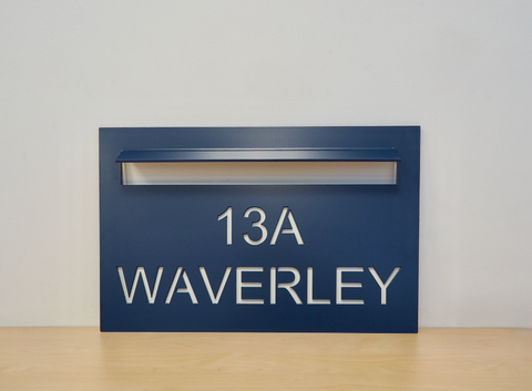 custom faceplate for letterbox in blue