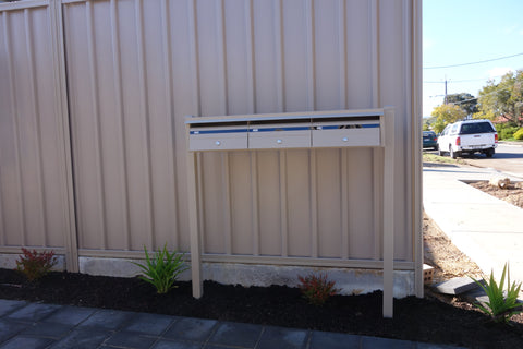 ground mounted on posts multibank classic cream with front opening landscape boxes