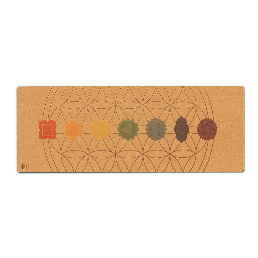 Chakras and Flower of Life Yoga Mat | Cork