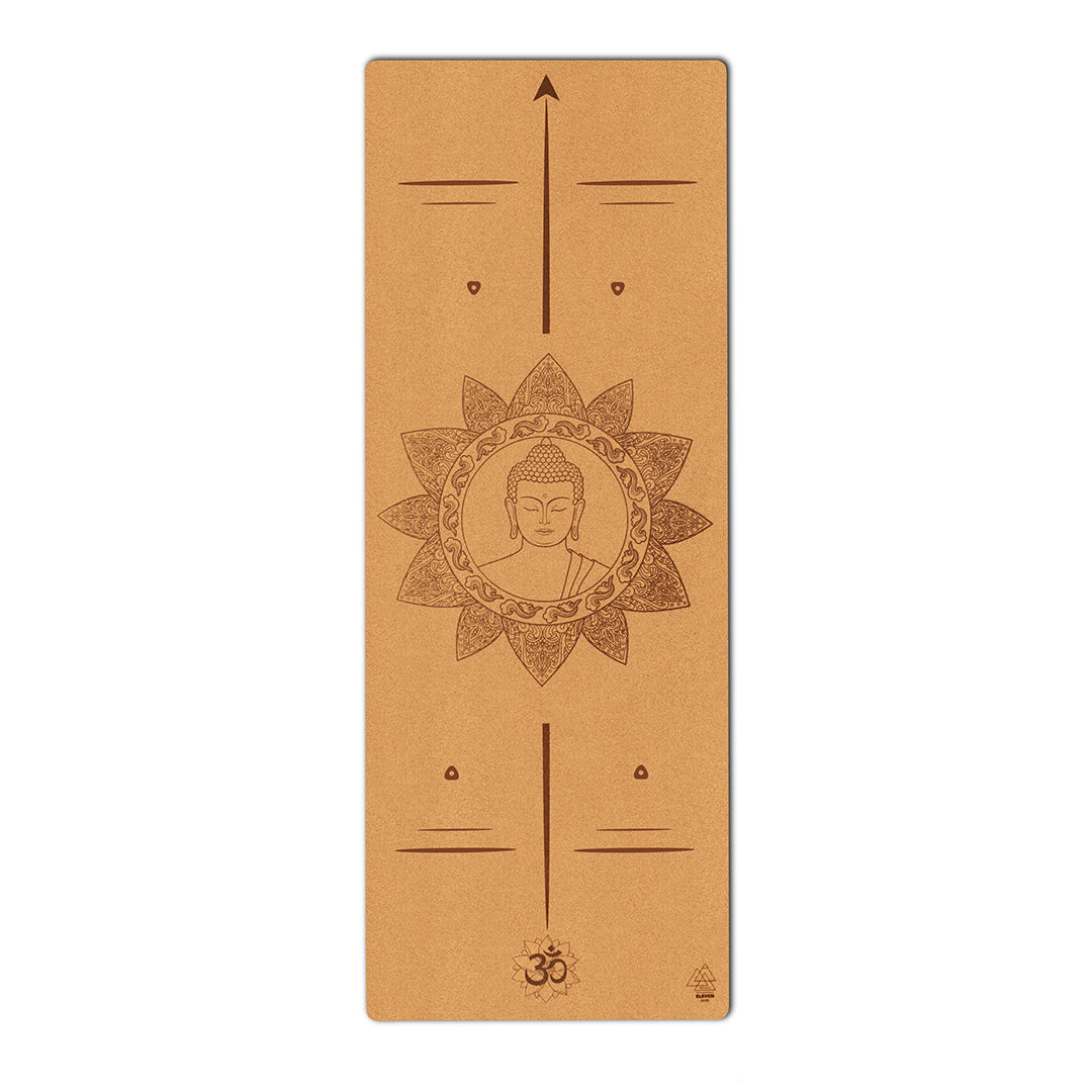 Buddha with Mandala and Om symbol Yoga Mat | Cork