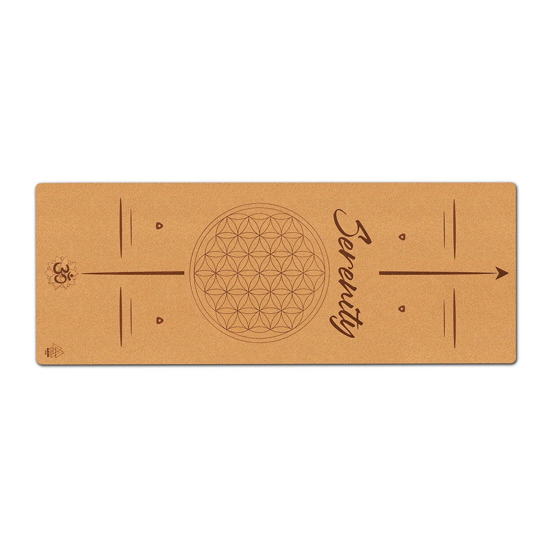 Flower of Life with the word Serenity Yoga Mat | Cork