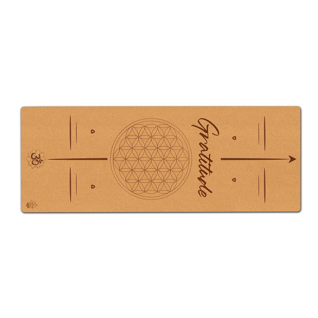 Flower of Life with the word Gratitude Yoga Mat | Cork