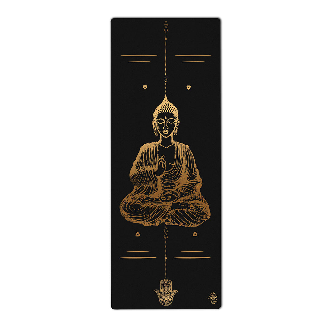Buddha Mudra Varada with Hamsa Symbol Yoga Mat | Black with Gold