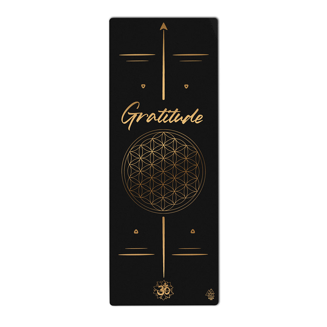 Flower of Life with the word Gratitude Yoga Mat  | Black with Gold