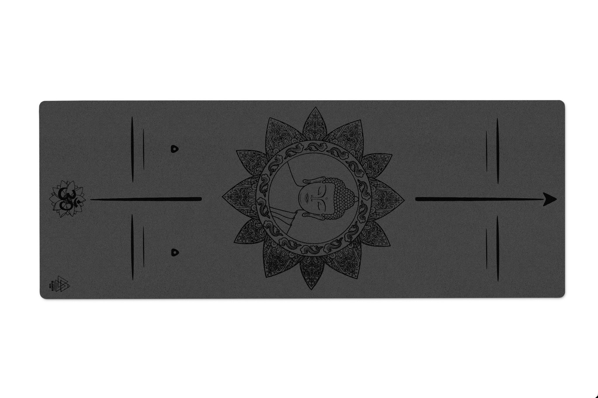 Buddha with Mandala and Om symbol Yoga Mat | Black