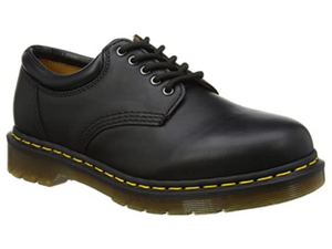 The 8053 from Dr. Martens has five eyelets a piece on each style that helps with fit.  The smooth black leather upper is easy to keep clean.  This features the padded collar and gum clear sole and yellow stitching about the sole. Great school uniform shoe.