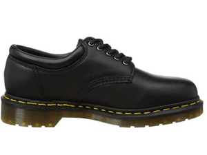The side view shows the yellow stitching that is just above the clear gum sole.  Great school uniform shoe.