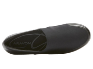 Top view of shoe that shows the round shape of the shoe to allow for a wider foot and problem feet.