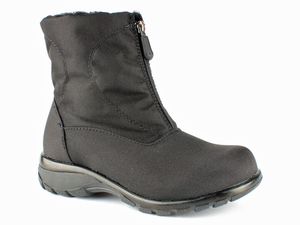 Black nylon front zip waterproof warm winter boot.