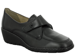 Ladies  leather shoe with wedge heel for comfort.  Single velcro strap adjusts to secure heel in place.  Stitch detail on strap and front upper give it a classic style.