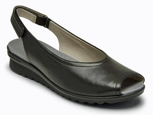 Black leather slingback with velcro adjustment at heel for perfect fit.